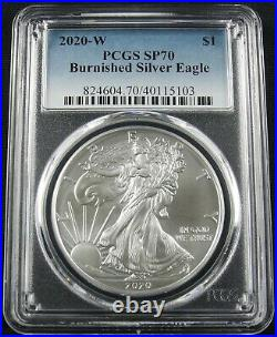 2020 W Burnished American Silver Eagle Pcgs Sp 70