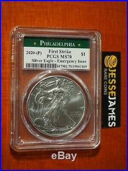 2020 (p) Silver Eagle Pcgs Ms70 Fs Emergency Issue Struck At Philadelphia Label