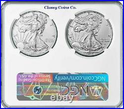 2021 NGC MS 70 Type 1 and Type 2 American Silver Eagle Set Dual Holder