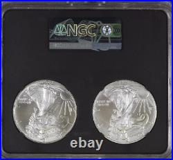 2021 Type 1 and Type 2 Silver Eagle Set NGC MS70 Black Core
