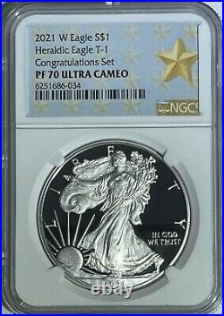 2021 W $1 Ngc Pf70 Proof Silver Eagle Congratulations Set West Point Star Label
