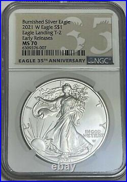 2021 W $1 Type 2 Ngc Ms70 Er Burnished Uncirculated Silver Eagle Landing