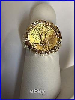 22K-FINE GOLD 1/10 OZ US AMERICAN EAGLE COIN in-14k SOLID GOLD NUGGET Ring