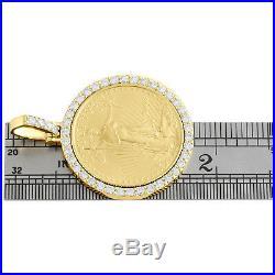22K Gold American Eagle Liberty Coin 1/2 oz. Diamond Mounting Pendant 2.25 CT