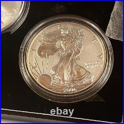 American Eagle 20th Anniversary SILVER Coin Set 2006 3 COIN SET with BOX & COA