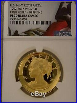 American Liberty 2017-W High Relief Gold Coin PF70 NGC Ultra Cameo
