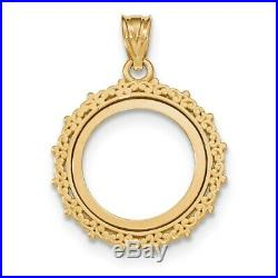 Genuine 14k Yellow Gold Fancy 1/10 oz American Eagle Coin Bezel