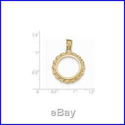 Genuine 14k Yellow Gold Twisted Wire 1/10 oz American Eagle Coin Bezel