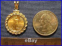 Genuine Gold 1/10 Oz American Eagle Coin Gold Pendant + 14k Bezel