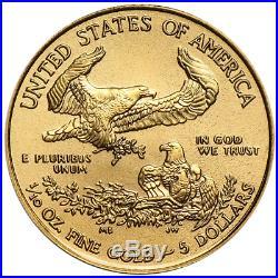 Lot of 10 2018 $5 American Gold Eagle 1/10 oz Brilliant Uncirculated