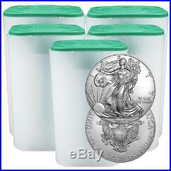 Lot of 100 2018 $1 American Silver Eagle 1 oz BU 5 Full Rolls