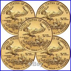 Lot of 5 2019 $5 American Gold Eagle 1/10 oz Brilliant Uncirculated