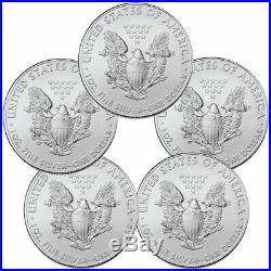 Lot of 5 2020 1 oz American Silver Eagle $1 Coins GEM BU SKU59438