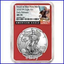 Presale 2020 (W) $1 American Silver Eagle 3 pc. Set NGC MS70 Black ER Label Re
