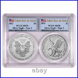Presale 2021 $1 Type 1 and Type 2 Silver Eagle Set PCGS MS70 FDOI Flag Label