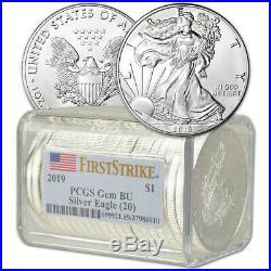 Roll of 20 2019 American Silver Eagle PCGS Gem BU First Strike