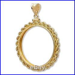 SOLID 14K GOLD SCREW TOP ROPE COIN BEZEL for the 1/2 Oz American Eagle Gold Coin