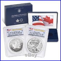 Sale 2019 Pride of Two Nations 2pc. Set U. S. Set PCGS PR70 FS Dual Flag Label