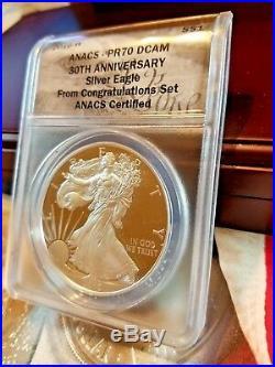 Super Rare 2016 W Eagle Congratulations Set ANACS PR70 Let Edge 30TH Anniversary
